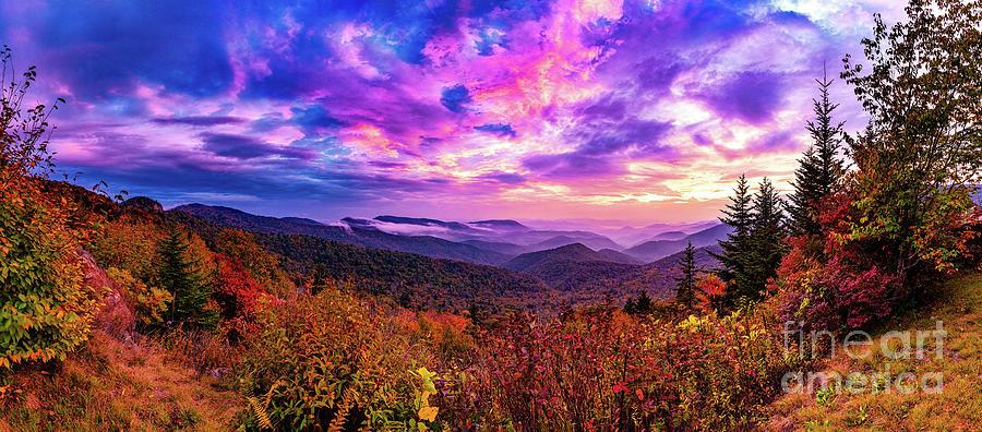 Autumn in Pisgah Panorama by Dan Carmichael