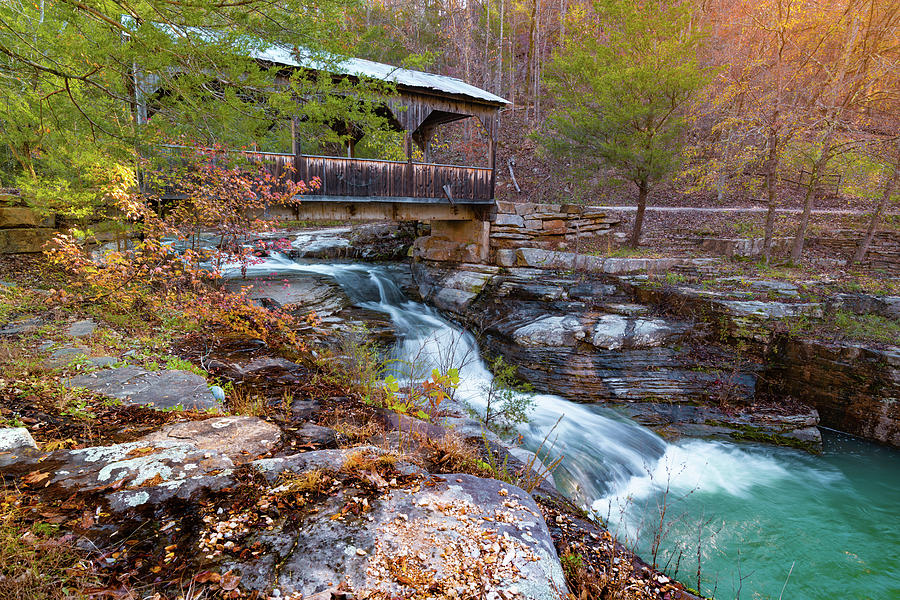Autumn in The Ozarks at Ponca Covered Bridge Falls by Gregory Ballos