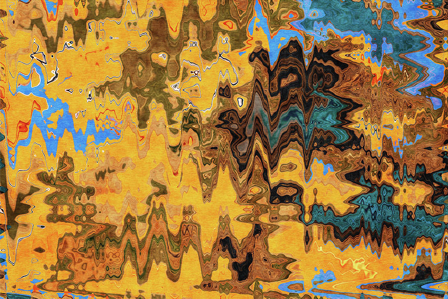 Autumn Jazz - Contemporary Abstract - Abstract Expressionist Painting - Yellow, Mustard, Blue, Brown Mixed Media
