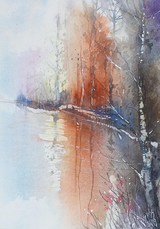 Watercolour Painting - Autumn lake impression by Lorand Sipos