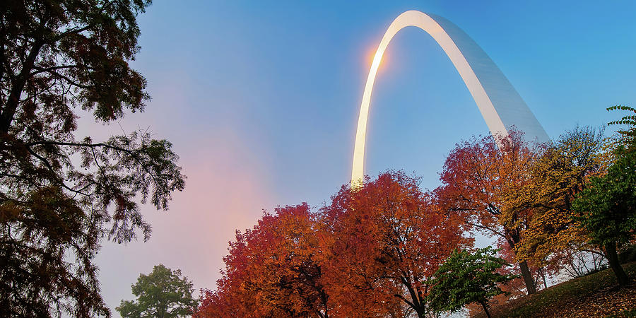 Autumn Landscape Surrounding The Saint Louis Gateway Arch - Panoramic Format Photograph