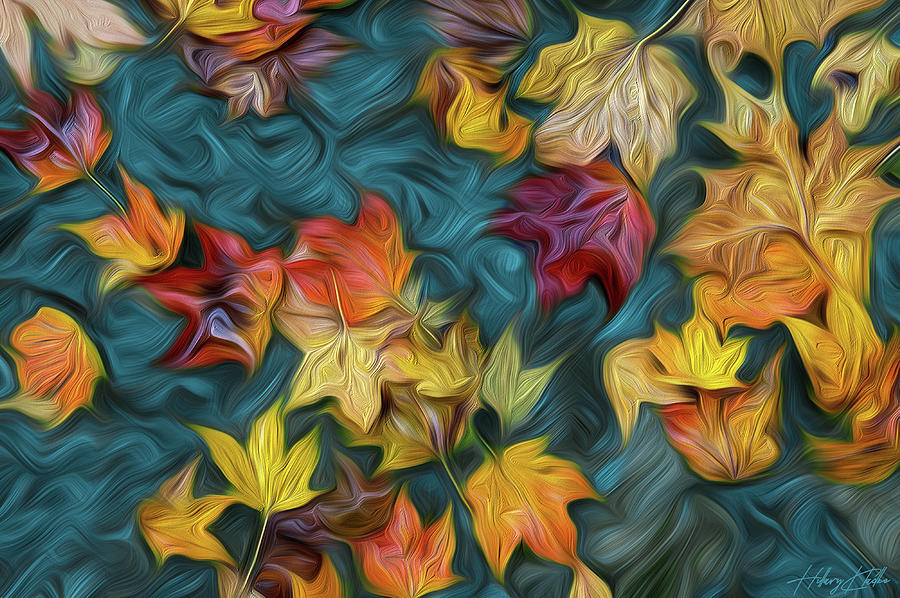 Autumn Leafs In Water Painting