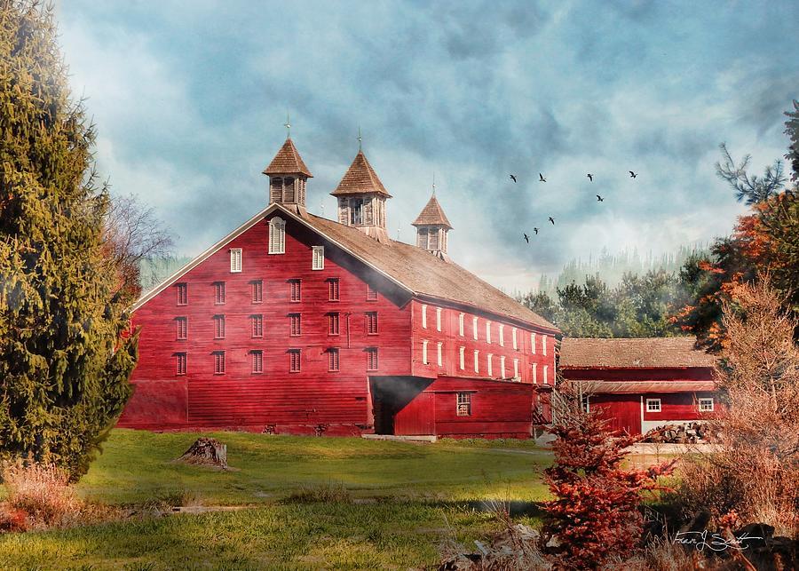 Autumn mist Red Barn by Fran J Scott