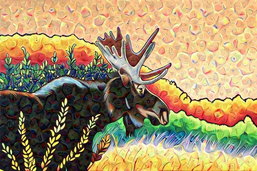 Autumn Moose with Swirls by Sonja Jones