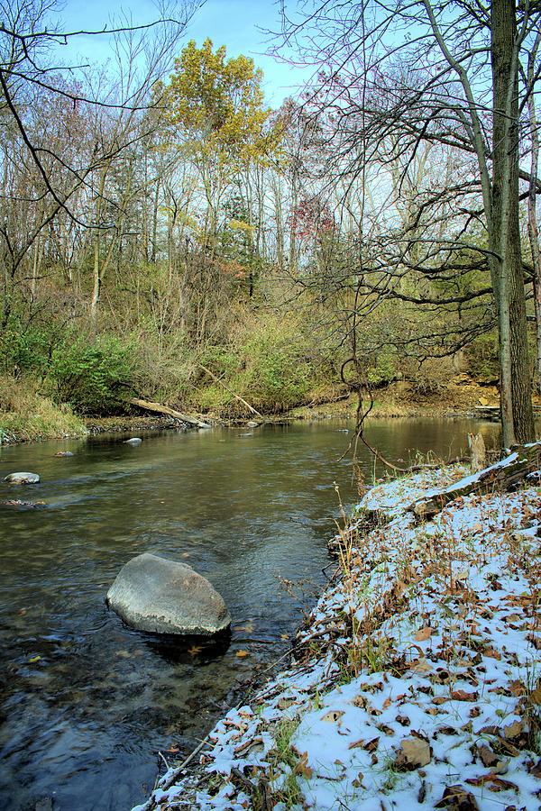 River Photograph - Autumn Snows by Bonfire Photography