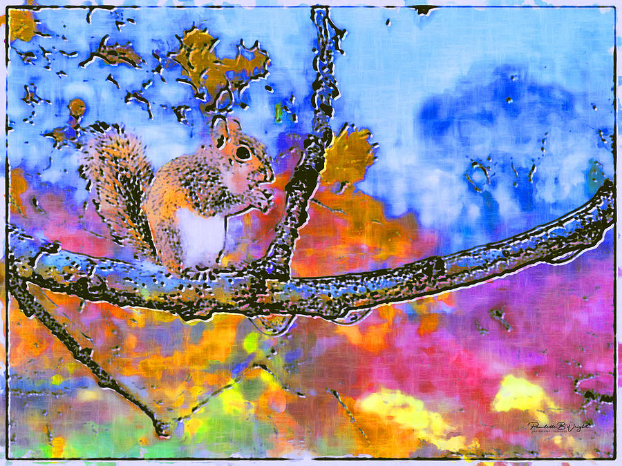 Autumn Squirrel on Branch by Paulette B Wright