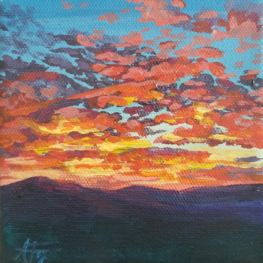 Sunset Painting - Autumn Sunset by Allison Fox
