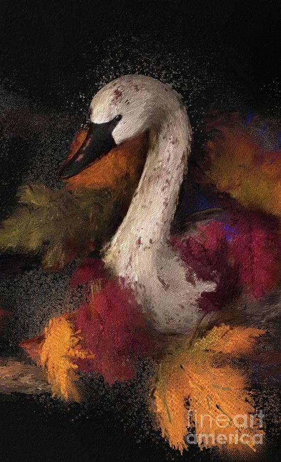 Autumn Swan Vertical  by Lois Bryan