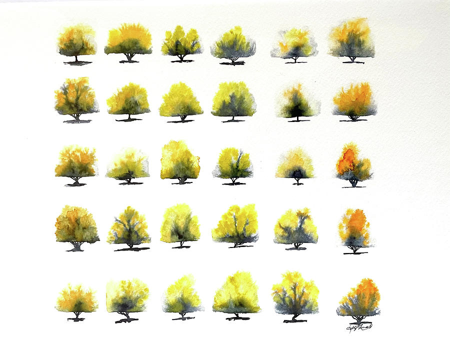 Watercolor Painting - Autumn Trees by Kelly Edwards
