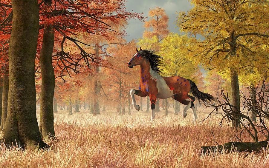 Autumn War Horse Digital Art