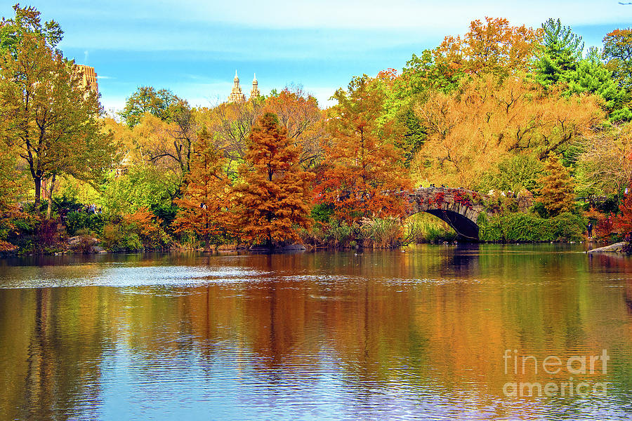Autumn's Art at Central Park Pond by Regina Geoghan