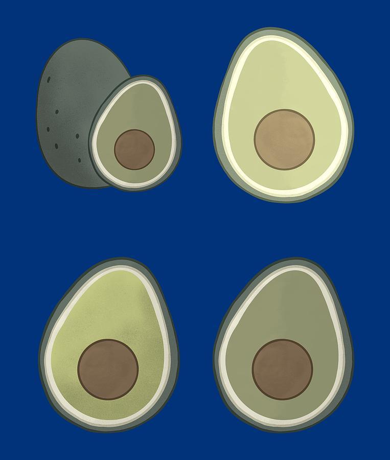 Avocado cute pattern illustration by Andrea