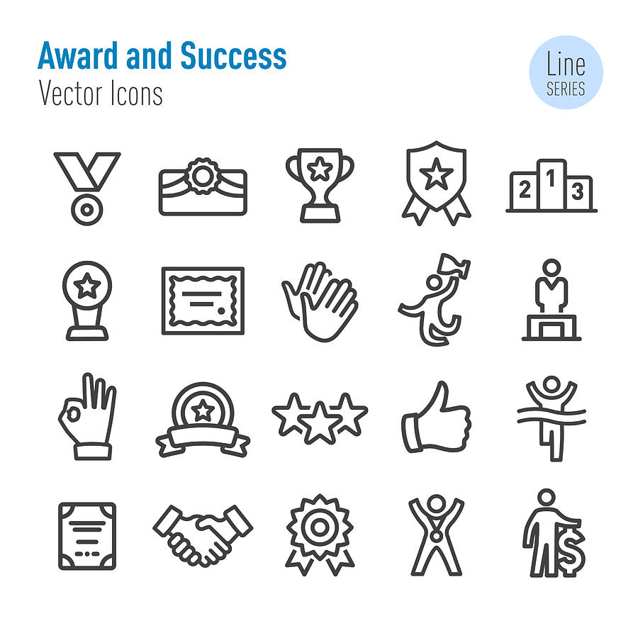 Award and Success Icons - Vector Line Series Drawing by -victor-