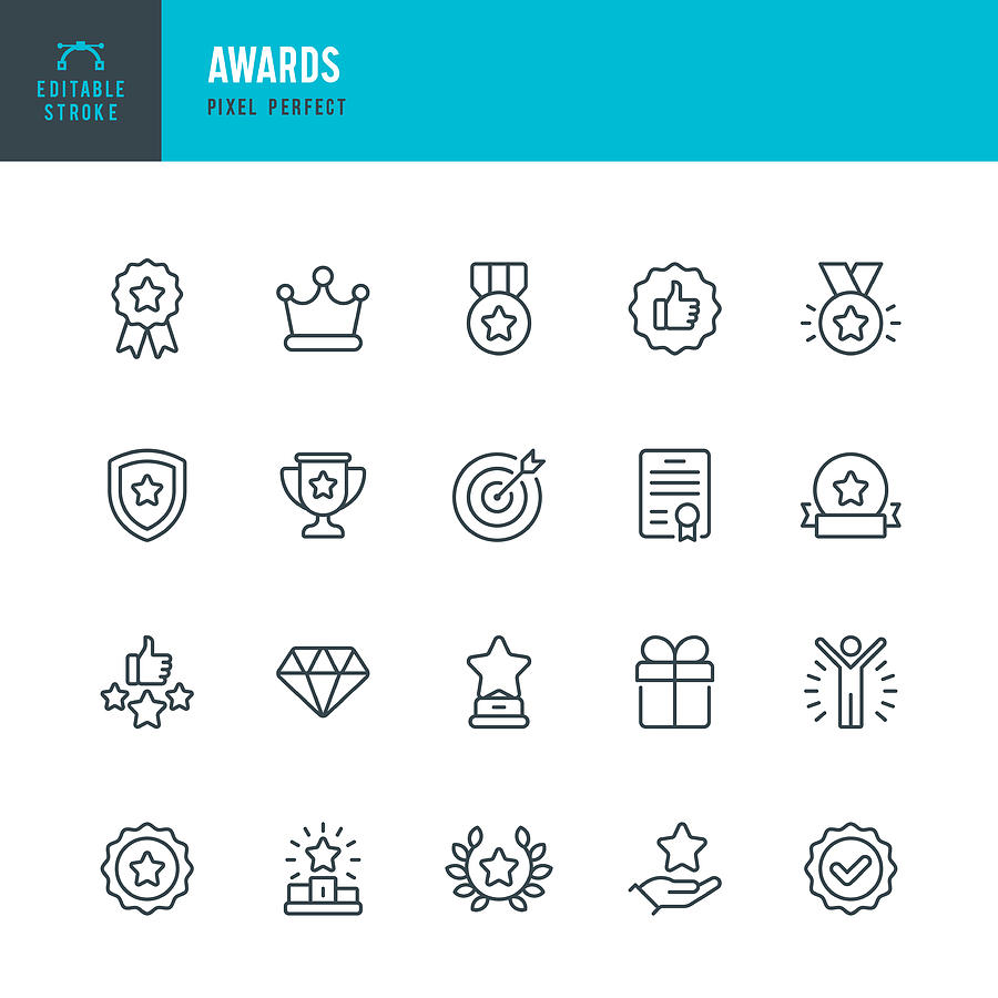 AWARDS - thin line vector icon set. Pixel perfect. Editable stroke. The set contains icons: Award, First Place, Winners Podium, Leadership, Certificate, Laurel Wreath, Medal, Trophy, Gift. Drawing by Fonikum