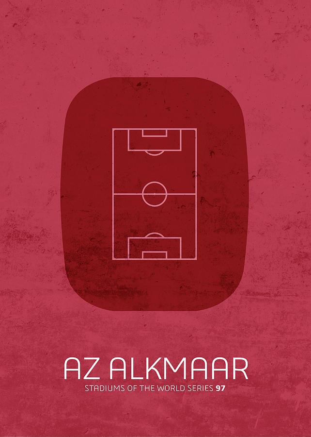 Az Mixed Media - Az Alkmaar Stadium Football Soccer Minimalist Series by Design Turnpike