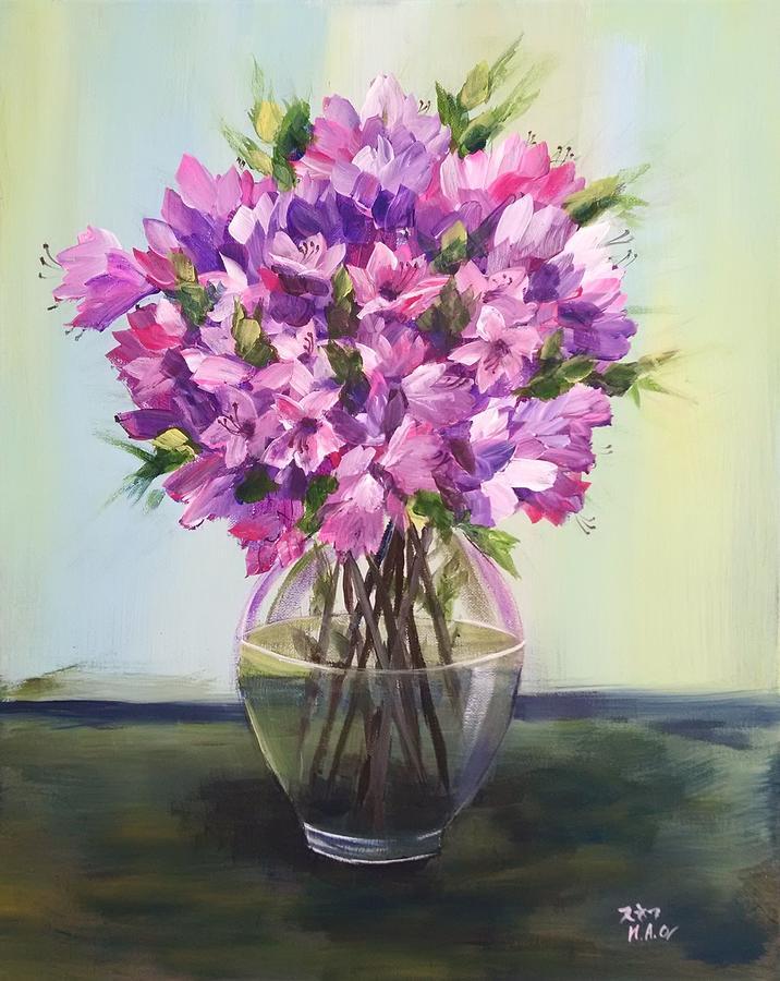 Azalea Painting - Azalea in Vase by Helian Osher