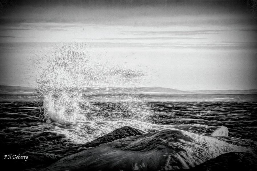 B And W Winter Waves Digital Art