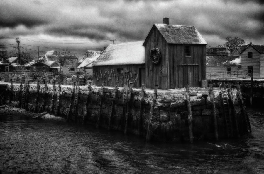 Black and White of Motif 1 in Rockport by Jeff Folger