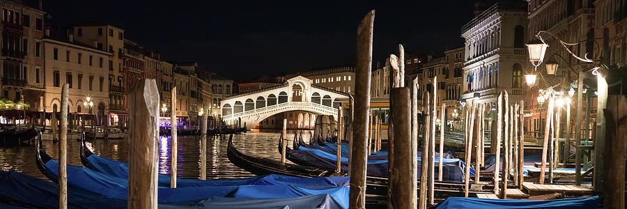 B0003178 - Rialto and briccole in the night, Venice by Marco Missiaja