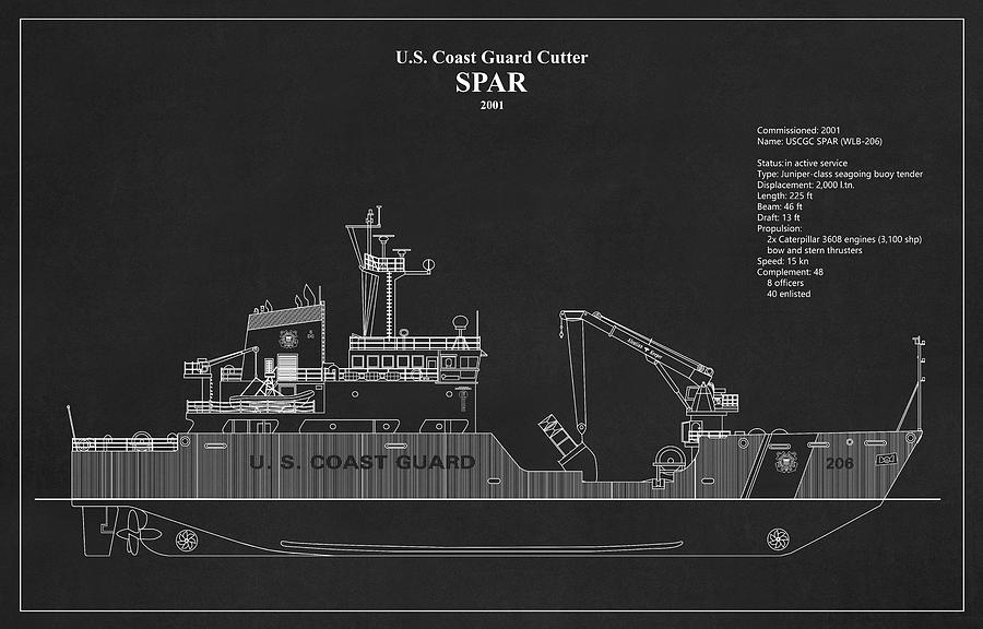 bk01 - United States Coast Guard Cutter Spar wlb-206 by JESP Art and Decor