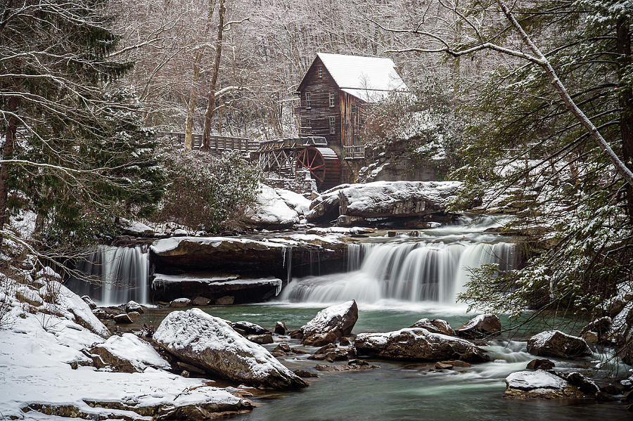 Landscape Photograph - Babcock State Park WV Winter Grist Mill and Waterfall by Robert Stephens