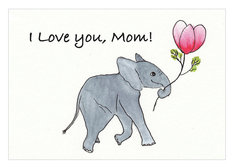Baby Elephant Mixed Media - Baby Abby I Love You Mothers Day Card by Conni Schaftenaar