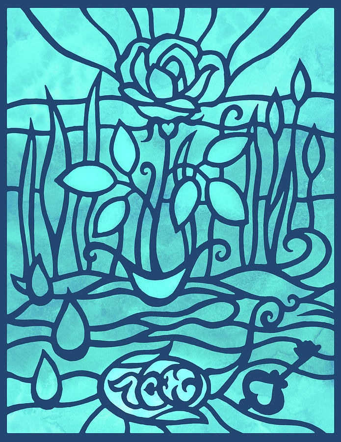 Baby Blue Rose In The Garden Watercolor Art Painting