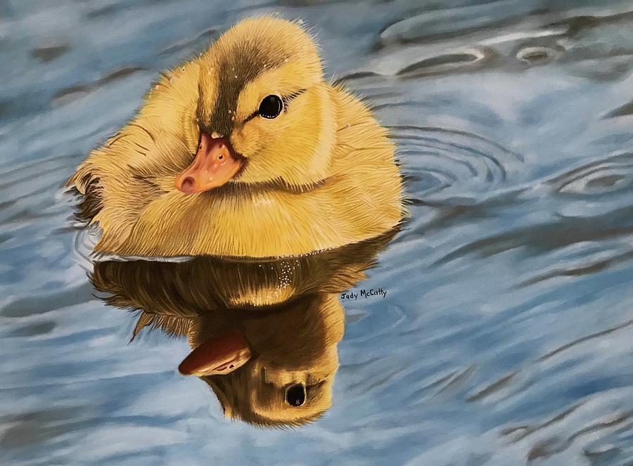Acrylic on paper Swimming Ducks