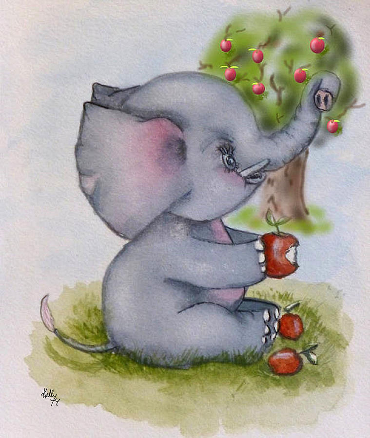 Baby Elephant loves Apples by Kelly Mills