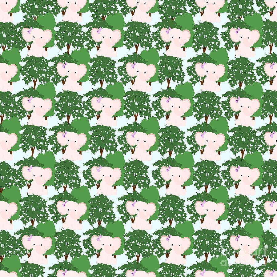Baby Jungle Elephant Repeating Pattern Digital Art