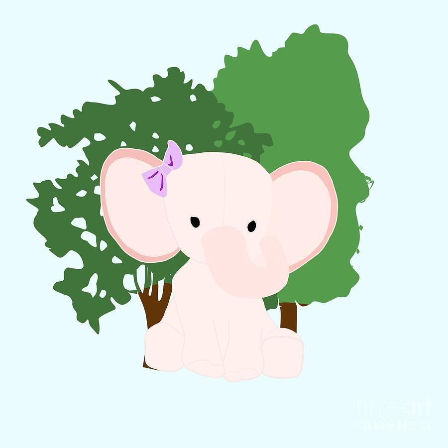 Baby Pink Elephant Digital Art