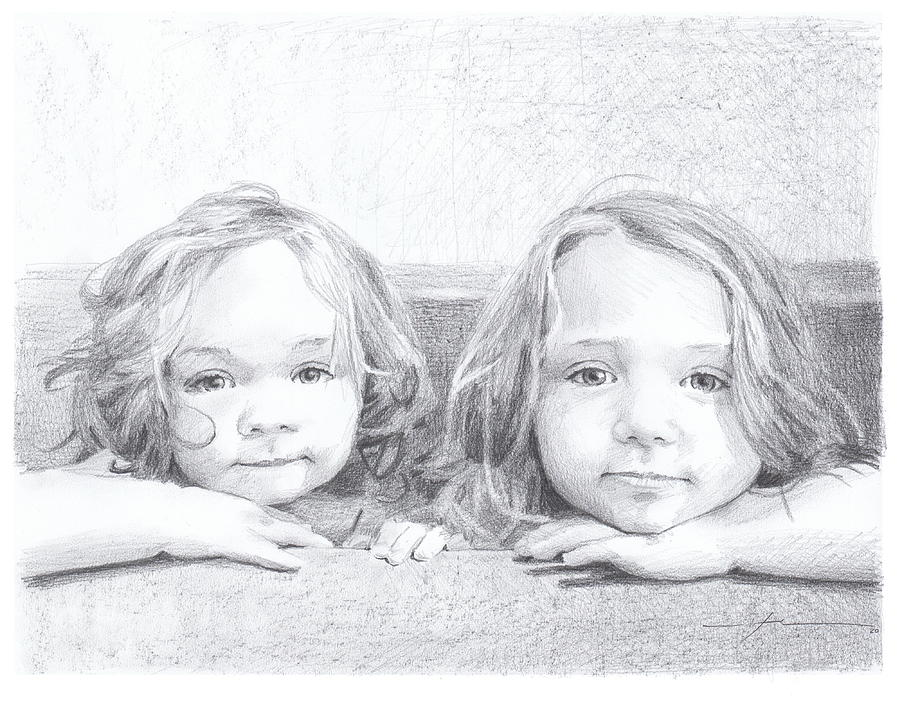 Baby Sisters Bathtub Drawing Drawing by Mike Theuer