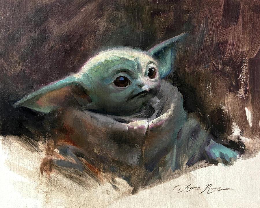 Yoda Painting - Baby Yoda by Anna Rose Bain