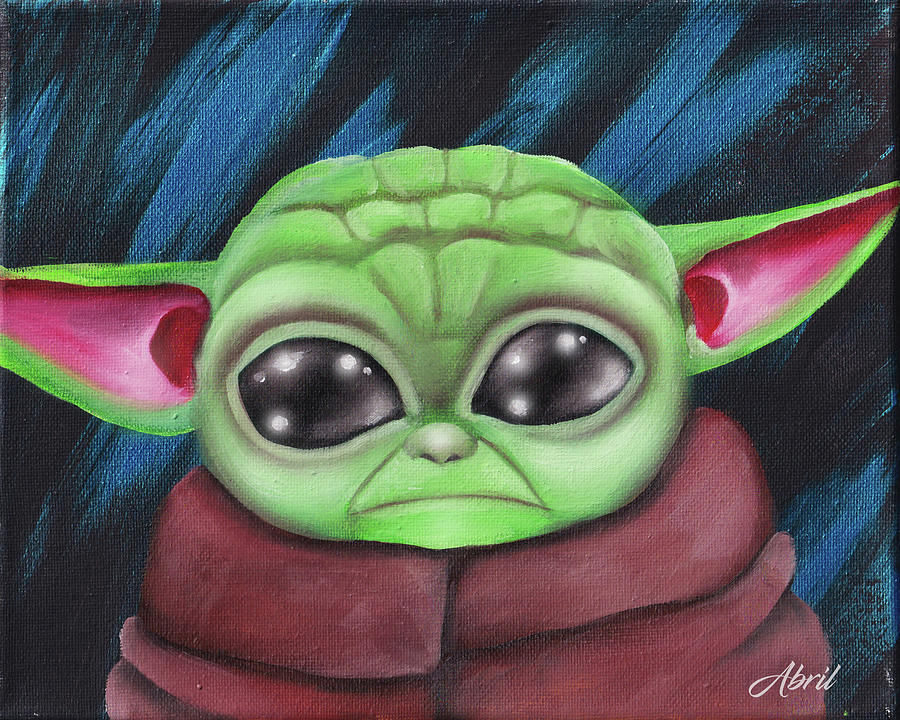 Baby Yoda Fan Art 1 Painting By Abril Andrade