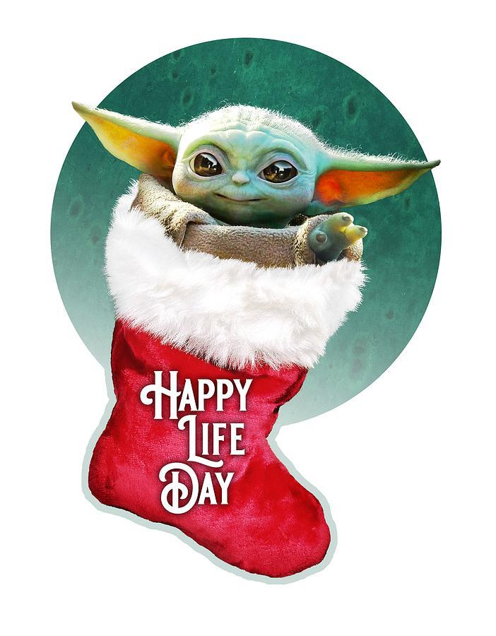 Star Wars Digital Art - Baby Yoda Happy Life Day by Edward Draganski