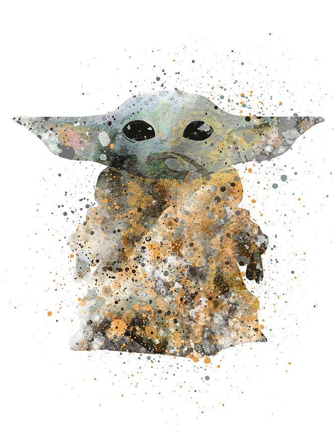 Baby Yoda The Child Watercolor Splashes Digital Art