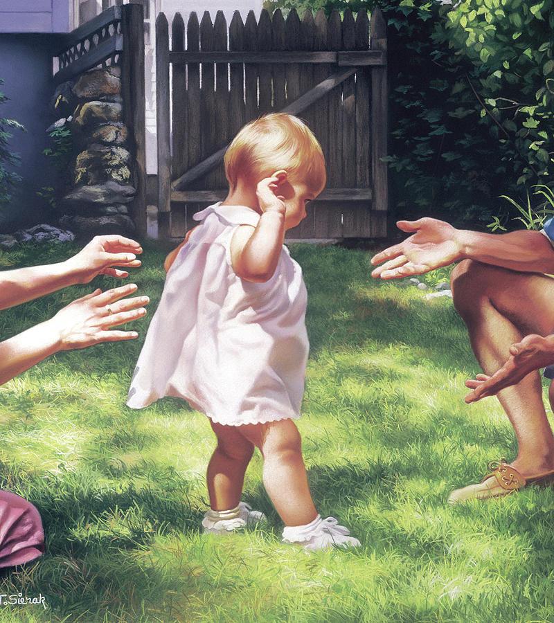 Children Painting - Babys First Steps by Tom Sierak