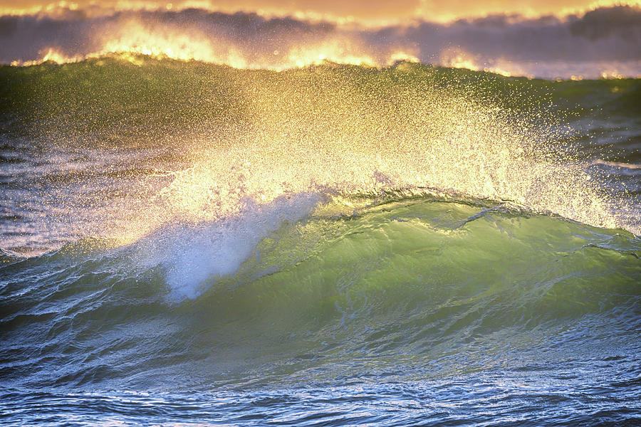 Back Lit Waves Photograph