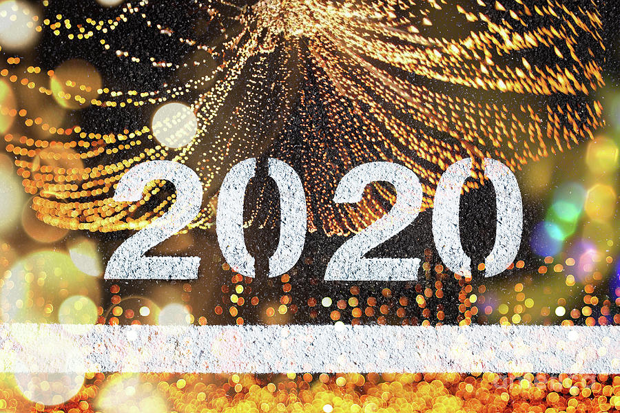 Background for 2020 new year calendar, white letters on black asphalt and party lights. by Joaquin Corbalan