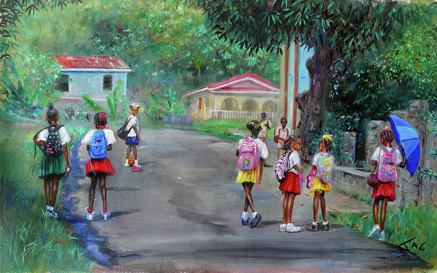 Saint Lucia Painting - Backpacks by Jonathan Guy-Gladding JAG