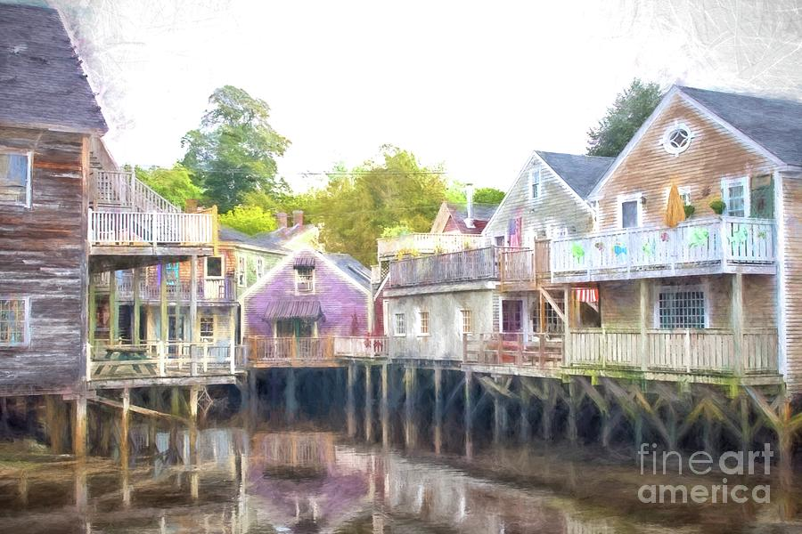 Backside Of Wooden Houses Above Water Photograph