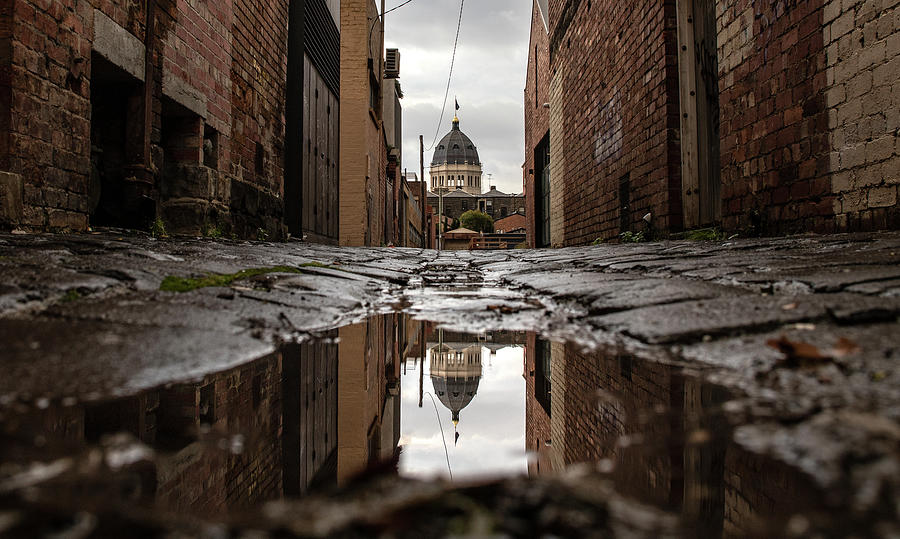 Puddle Photograph - Backstreets reflections. by Leigh Henningham