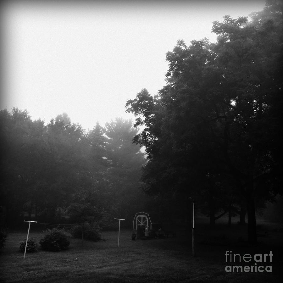 Landscape Photograph - Backyard Morning Fog - Black and White  by Frank J Casella