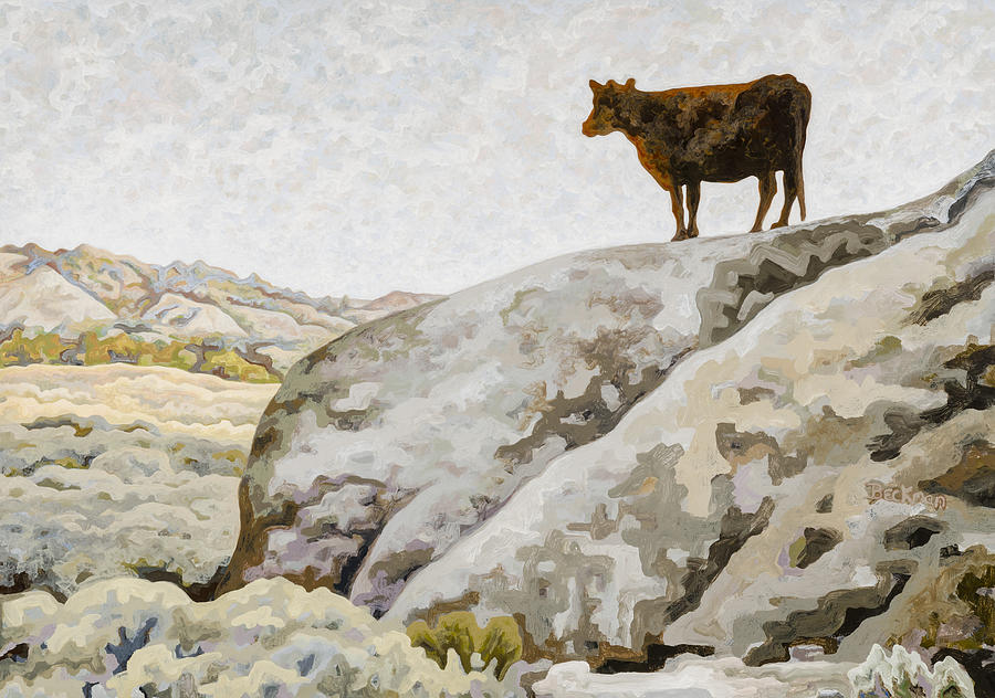 Cow Painting - Badlands Cow by Dale Beckman