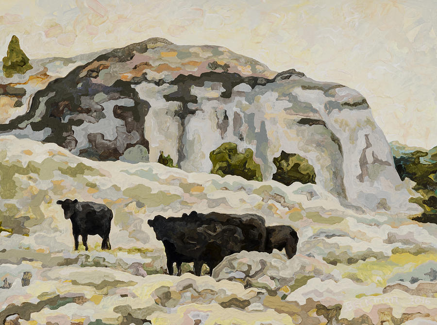Dale Beckman Painting - Badlands Cows #2 by Dale Beckman