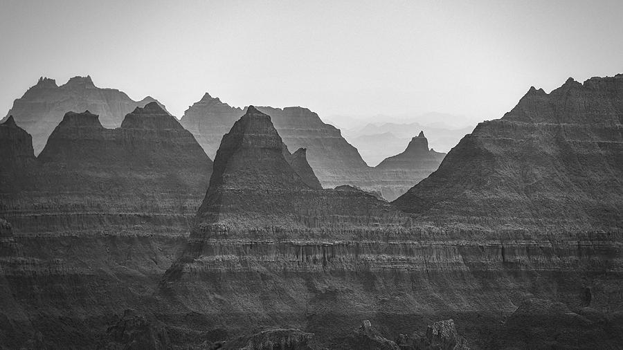 Badlands Photograph - Badlands Fog in Black and White by Matt Hammerstein