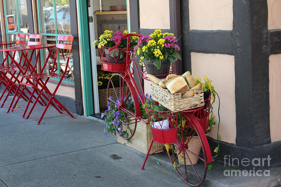 Bike Basket Photograph - Bakery in Bicycle Basket At Solvang in Color by Colleen Cornelius