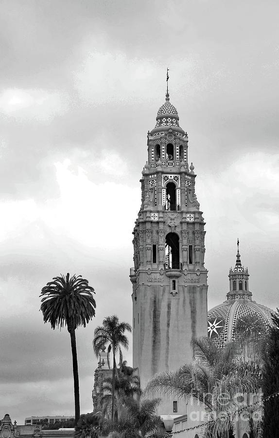 Balboa Park Photograph - Balboa Park San Diego California Black and White by Debby Pueschel