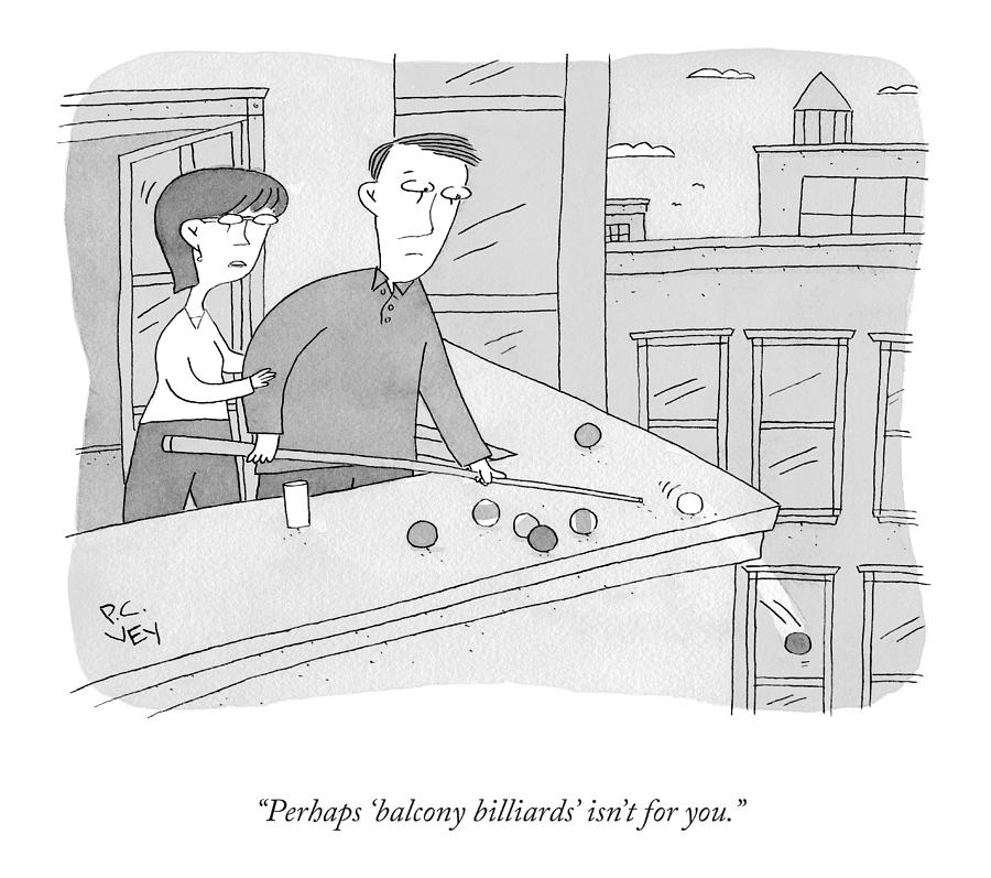 Balcony Billiards Drawing by Peter C Vey