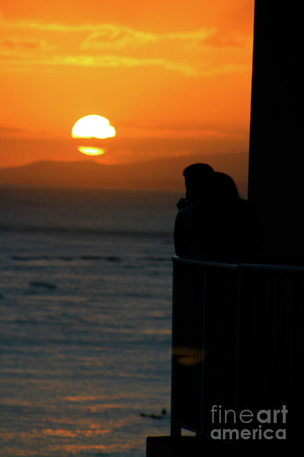Silhouette Photograph - Balcony Love by Mary Mikawoz